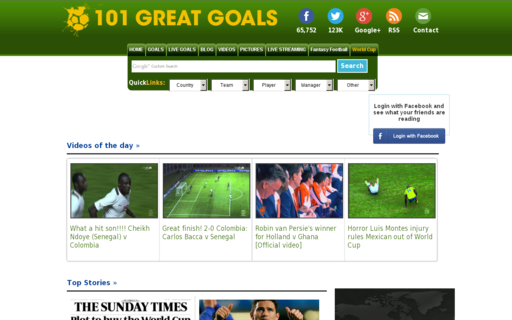 Access 101greatgoals.com using Hola Unblocker web proxy