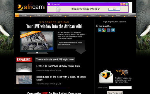 Access africam.com using Hola Unblocker web proxy