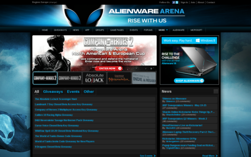 Access alienwarearena.com using Hola Unblocker web proxy