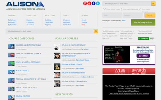 Access alison.com using Hola Unblocker web proxy