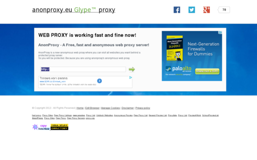 Access anonproxy.eu using Hola Unblocker web proxy