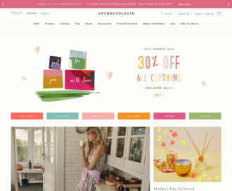 Access anthropologie.com using Hola Unblocker web proxy