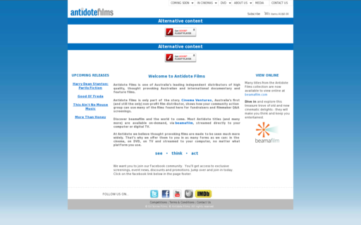 Access antidotefilms.com.au using Hola Unblocker web proxy