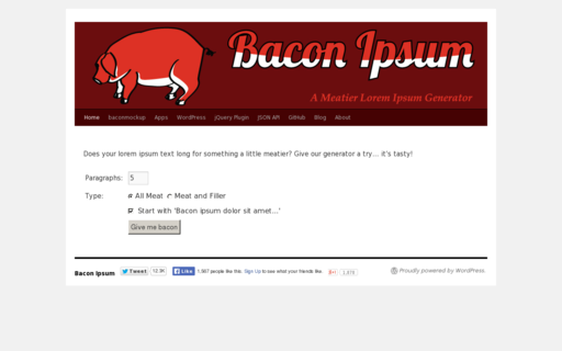 Access baconipsum.com using Hola Unblocker web proxy