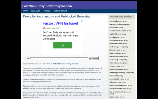 Access bbwoftheyear.com using Hola Unblocker web proxy