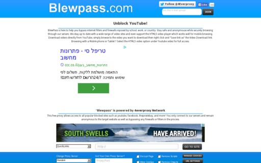 Access blewpass.com using Hola Unblocker web proxy