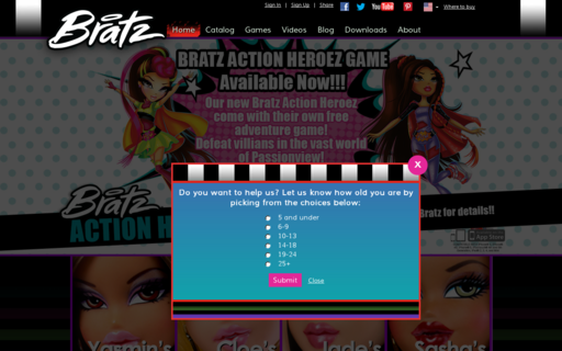Access bratz.com using Hola Unblocker web proxy