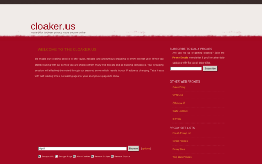 Access cloaker.us using Hola Unblocker web proxy
