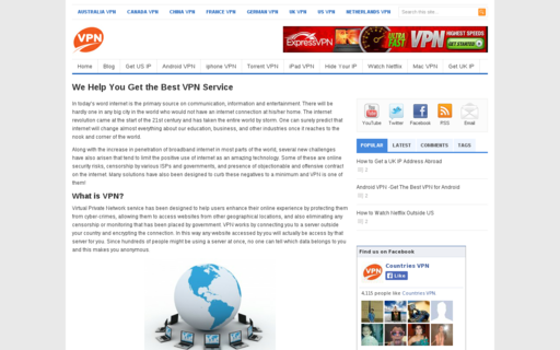 Access countriesvpn.com using Hola Unblocker web proxy
