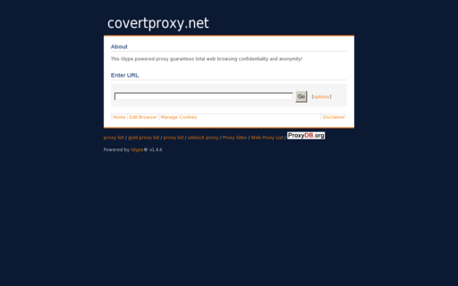 Access covertproxy.net using Hola Unblocker web proxy