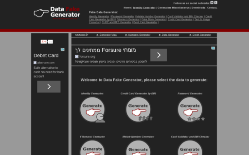 Access datafakegenerator.com using Hola Unblocker web proxy