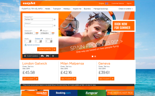 Access easyjet.com using Hola Unblocker web proxy