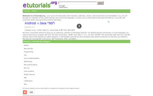Access etutorials.org using Hola Unblocker web proxy