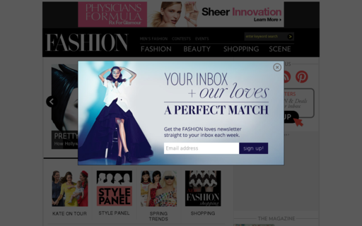 Access fashionmagazine.com using Hola Unblocker web proxy