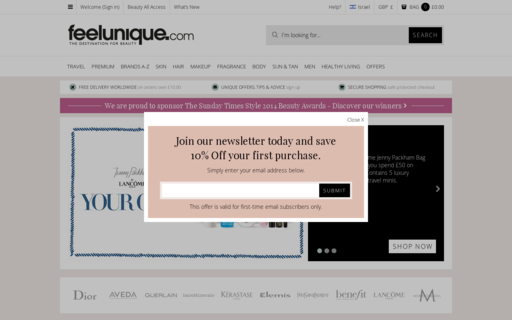 Access feelunique.com using Hola Unblocker web proxy
