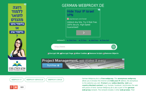 Access german-webproxy.de using Hola Unblocker web proxy