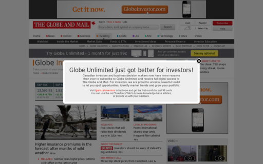 Access globeinvestor.com using Hola Unblocker web proxy