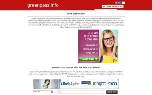 Access greenpass.info using Hola Unblocker web proxy