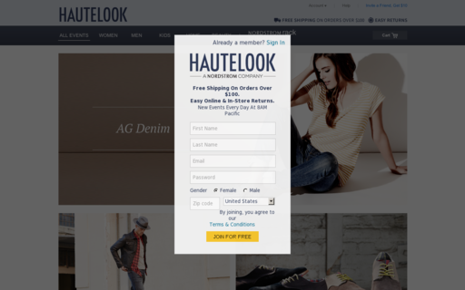 Access hautelook.com using Hola Unblocker web proxy