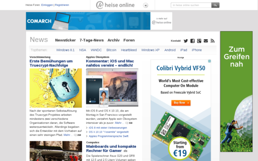 Access heise.de using Hola Unblocker web proxy