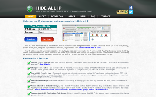 Access hideallip.com using Hola Unblocker web proxy