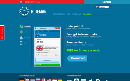 Access hideman.net using Hola Unblocker web proxy