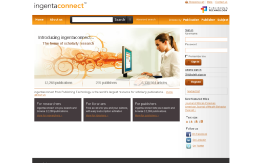 Access ingentaconnect.com using Hola Unblocker web proxy