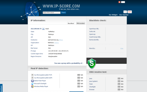 Access ip-score.com using Hola Unblocker web proxy