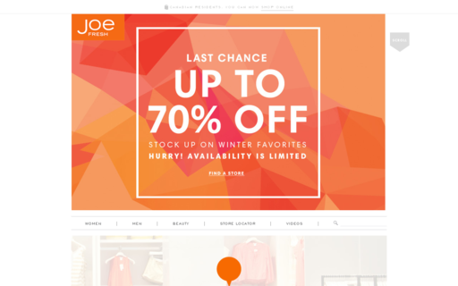 Access joefresh.com using Hola Unblocker web proxy