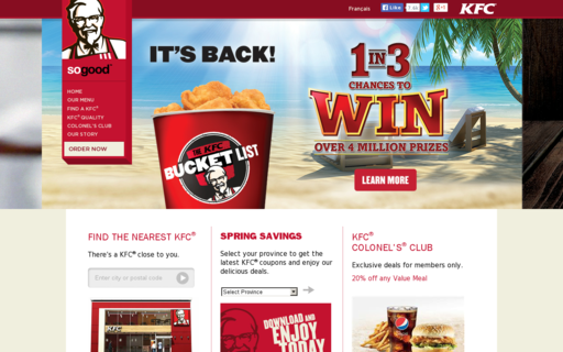 Access kfc.ca using Hola Unblocker web proxy