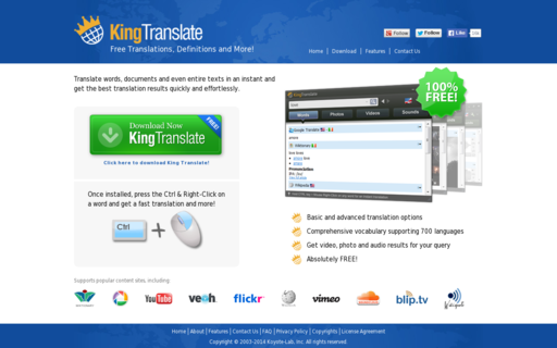 Access kingtranslate.com using Hola Unblocker web proxy