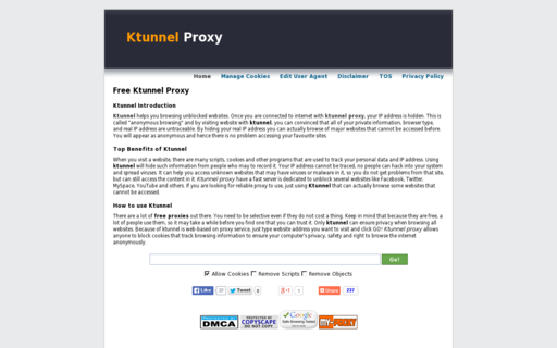 Access ktunnelproxy.com using Hola Unblocker web proxy