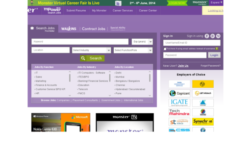 Access monsterindia.com using Hola Unblocker web proxy