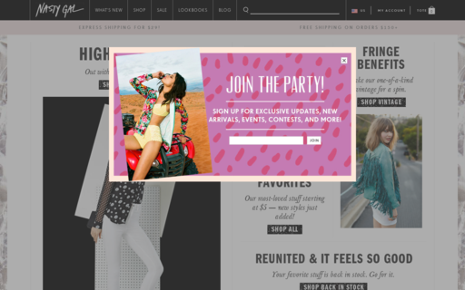 Access nastygal.com using Hola Unblocker web proxy