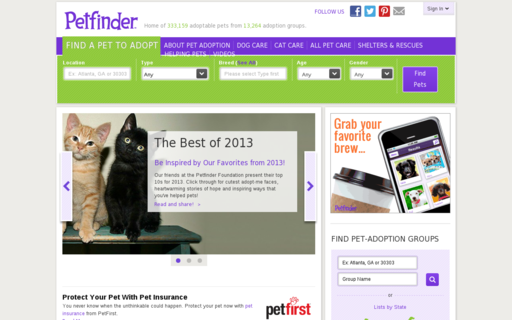 Access petfinder.com using Hola Unblocker web proxy