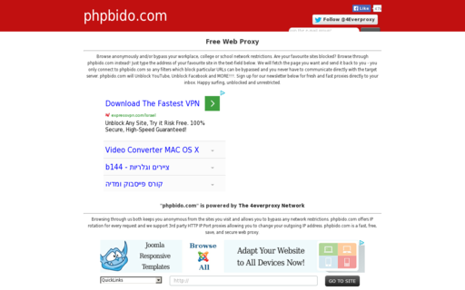 Access phpbido.com using Hola Unblocker web proxy