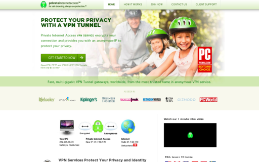 Access privateinternetaccess.com using Hola Unblocker web proxy