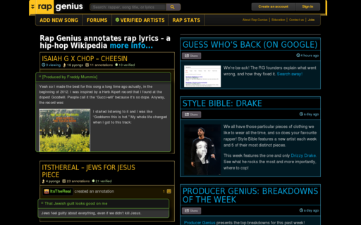 Access rapgenius.com using Hola Unblocker web proxy
