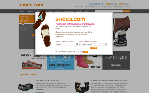 Access shoes.com using Hola Unblocker web proxy