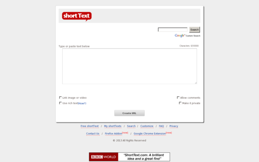 Access shorttext.com using Hola Unblocker web proxy