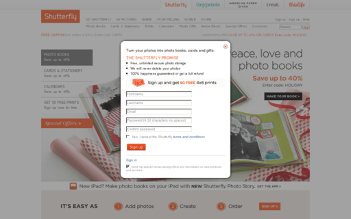 Access shutterfly.com using Hola Unblocker web proxy