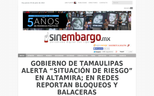 Access sinembargo.mx using Hola Unblocker web proxy