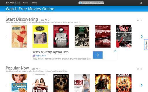 Access snagfilms.com using Hola Unblocker web proxy
