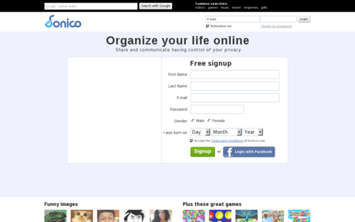 Access sonico.com using Hola Unblocker web proxy