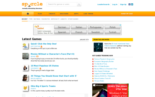 Access sporcle.com using Hola Unblocker web proxy