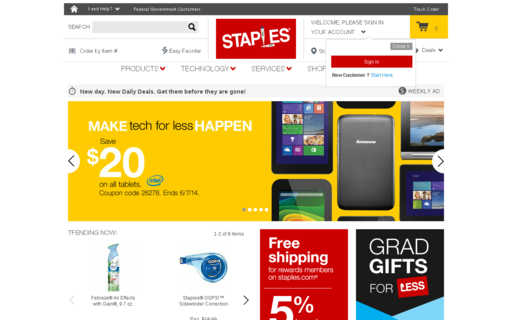 Access staples.com using Hola Unblocker web proxy