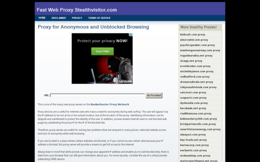 Access stealthvisitor.com using Hola Unblocker web proxy
