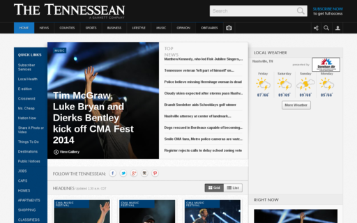 Access tennessean.com using Hola Unblocker web proxy