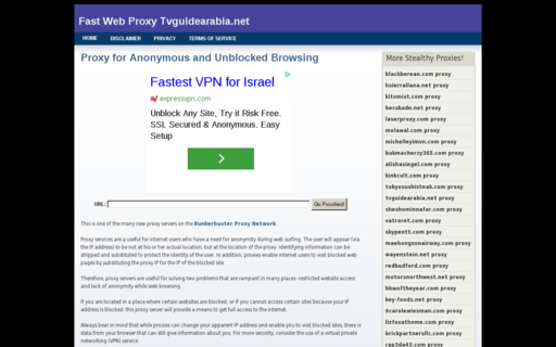 Access tvguidearabia.net using Hola Unblocker web proxy