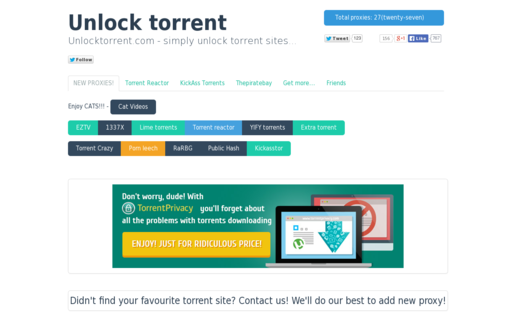 Access unlocktorrent.com using Hola Unblocker web proxy